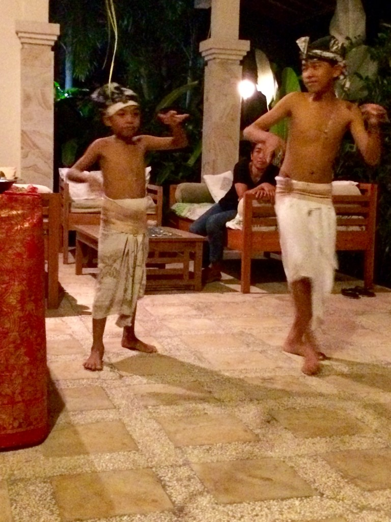 Two brother (age 6 and 14) performing a traditional Balinese dance